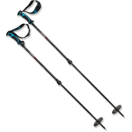 Ski Take the K2 LockJaw Carbon/Alu Probe ski poles on your backcountry tours. With a built-in inclinometer, backup avalanche probe and a snow-depth ruler, the LockJaw poles are designed for adventure. Carbon fiber upper shafts combine with 7075 aluminum lower shafts to keep the poles light and strong. Lower sections screw together to make a backup avalanche probe that is 200cm (78 in.) long. Bubble inclinometer located near the grip lets you easily determine the steepness of a slope before you ski it, an important step in avalanche assessment. LockJaw clamping mechanisms offer glove-friendly clamping and easy release; poles adjusts from 105 - 145cm (42 - 58 in.) long. BackSide grips feature small notches that work to adjust your binding heel lifts or unbuckle your boots, and soft thermoplastic rubber material offers excellent grip. Inverted centimeter markings let you to flip the poles upside down to measure depth of the snowpack. Webbed powder baskets offer a large surface area for maximum flotation in the backcountry; threaded design lets you easily take the baskets off and put them back on. K2 LockJaw Carbon/Alu ski poles have molded, adjustable straps that support your wrists. - $111.93