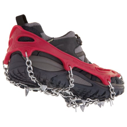 "Fitness This light, versatile traction system from Kahtoola is designed for use with any common footwear from trail running shoes to hiking boots to snow boots. From BACKPACKER 2012 Editors' Choice Awards: ""Since they came out in 2007, our staffers have used the low-profile spikes from the Rockies to the Alps."". Ideal for winter walking, hiking, trail running, adventure racing, non-technical mountaineering and even snow shoveling. Constructed of high-quality stainless steel, strategically placed spikes and flex-chain combine to dig into the ground and grip any terrain. Tough elastomer shoe harness ensures a snug, responsive fit and secures easily. Compact size takes up little space in pack, car or emergency kit. - $59.95"