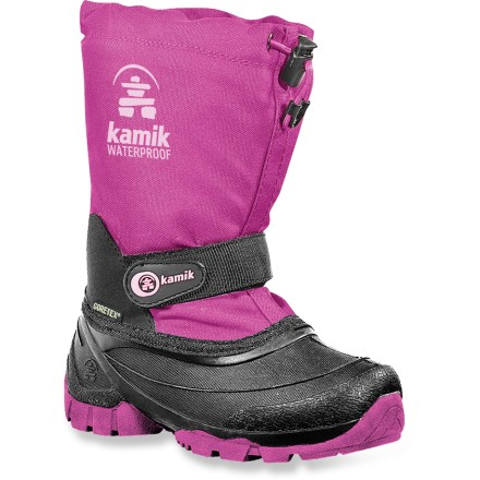 The Kamik Waterbug 6 girls' winter boots defy snowy hills and slushy streets with complete waterproof protection and toasty insulating liners. Waterproof nylon uppers and seam-sealed construction offer rugged protection from rain, snow and slush. Removable, 8mm 3-layer liners have a moisture-wicking polyester felt inner layer, insulating middle layer and heat-reflecting thermal foil outer layer. Adjustable snow collars with bungee lace locks dial down the fit and help keep snow out. Rip-and-stick strap at ankles comfortably locks in the midfoot to help prevent chafing or blisters from a sloppy fit. Lugged outsoles provide excellent traction on snow, slush and wet surfaces; they're made with recycled, PVC-free synthetic rubber that's 50% lighter than natural rubber. Kamik Waterbug 6 kids' winter boots are made in Canada and assembled in the USA. - $41.93