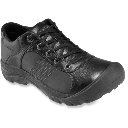 The classic oxford style of the Keen Finlay shoes works for the office as well as everyday use outside of work. Waterproofed leather uppers are soft, supple and resistant to stains and the elements. Patented Toe Guards protect feet and leather from bumps and abrasion. Nylon linings manage moisture and boost comfort. Contoured EVA midsoles are supportive for all-day wear; removable footbeds give additional cushioning. Nonmarking rubber outsoles on the Keen Finlay shoes provide great traction on varied surfaces. Fit tip: runs true to size. - $54.83