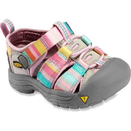 Entertainment The KEEN Newport H2 Sandals are made with quick-drying polyester webbing, for all-terrain protection, function and freedom for little feet. Polyester webbing uppers are lined with hydrophobic Styrene Butadiene Rubber (SBR) for fast-drying comfort and fit. Uppers are laced with elastic cord and secure with Quicklocks; 3M(R) reflective pull loops allow easy on/off. Patented toe guards protect little toes while hiking, walking, running and even biking. Metatomical EVA midsoles provide cushioning while antimicrobial footbeds help keep foot odor under control. Non-marking carbon-rubber outsoles offer long-lasting durability; knife-cut siping delivers reliable traction on wet surfaces. - $19.83