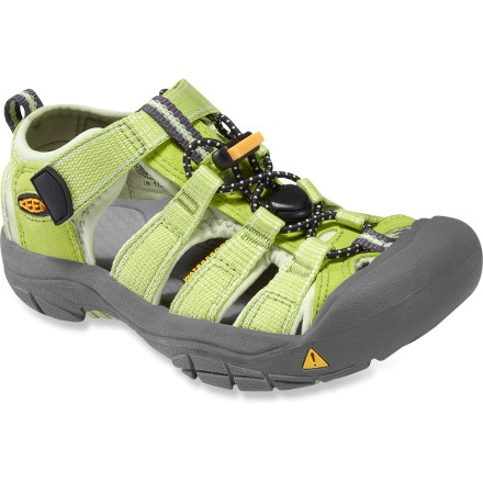 Entertainment The all-terrain KEEN Newport H2 Sandals are made with quick-drying polyester webbing and provide protection, function and freedom for little feet. Polyester webbing uppers are lined with hydrophobic Styrene Butadiene Rubber for fast-drying comfort and fit. Uppers are laced with elastic cord and secure with Quicklocks; 3M(R) reflective pull loops allow easy on/off. Patented toe guards protect little toes while hiking, walking, running and even biking. Metatomical EVA midsoles provide cushioning and antimicrobial footbeds help keep foot odor under control. Nonmarking carbon-rubber outsoles offer exceptional durability; knife-cut siping delivers reliable traction on wet surfaces. - $49.95