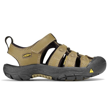 Entertainment An original from Keen, the Newport Sandals are built to protect and secure kids' feet for adventures on land and water. Laminated leather uppers resist weather and stains; lined with hydrophobic foam for comfort and moisture control. Strappy uppers with elastic-cord lacing offer a snug, custom fit; reflective pull loops for easy on/off and enhanced visibility. Patented rubber toe guards protect feet from scuffs, bumps and uneven terrain. Microban(R) anti-microbial EVA footbeds are custom shaped to provide ample cushioning and arch support while controlling odor. Compression-molded EVA midsoles offer rich shock-absorption and padding for all-day wear. Non-marking carbon rubber outsoles on these Keen Newport sandals offer long-wearing durability and superb traction on wet or dry surfaces. - $24.83