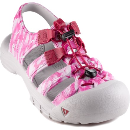 Entertainment The Keen Sunport sandals for girls offer great comfort while enjoying the outdoors. Sandals are constructed from molded EVA for lightweight comfort; uppers don't absorb water and are easy to clean. Polyester webbing eyelets are long lasting and work with the elastic 1-pull lacing system with cordlocks to secure feet comfortably. Instep loops aid entry and exit; patented rubber Toe Guards protect little toes. EVA footbeds are shaped to provide ample cushioning and arch support. Compression-molded EVA midsoles offer rich shock-absorption and padding for all-day wear. Hardened EVA outsoles deliver lightweight traction and durability. Closeout. - $12.83