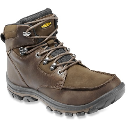 Designed and assembled in Keen's hometown of Portland, Oregon, the NoPo boots are natives of the sidewalks of Old Town, the steep trails of the Gorge and the weather of the Pacific Northwest. Rugged, full-grain leather uppers feature KEEN.DRY(TM) waterproof breathable membranes keep rain out while wicking sweat away for a dry boot interior. Removable polyurethane footbeds cushion feet and offer light arch support for all-day wear. Direct-attach bonding method of outsoles to uppers boosts durability. Lugged rubber outsoles on the Keen NoPo boots transition easily from town to trail. Fit tip: runs true to size. - $118.93