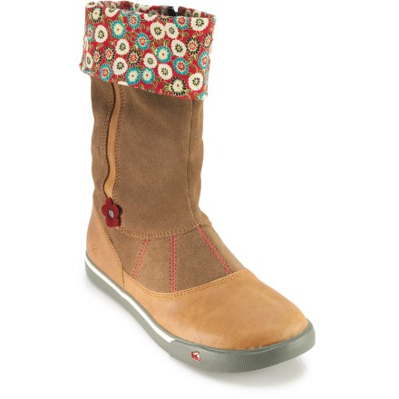 These adorable Keen Magalia boots sport plenty of flair, finesse and function for young fashionistas. Sturdy leather uppers and vulcanized construction hold up to all-day play. Cotton canvas linings feature fold-over cuffs with cute patterns for a fun, stylish pop. EVA midsoles offer excellent cushioning, reducing foot fatigue to keep young feet happy. Medial side zipper allows easy on/off. Nonmarking rubber outsoles on the Keen Magalia boots let her tromp confidently around town. - $44.93