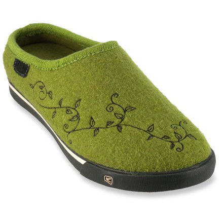 Entertainment Go the Full Comfy in these Keen Trillium women's slippers, which feature felted wool uppers, soft microfleece linings and sneakerlike outsoles for indoor/outdoor wear. Cozy, insulating wool felt uppers are adorned with floral stitching for fun style. Polyester microfleece linings supply soft, cozy comfort against feet and help wick moisture. KEEN.CUSH(TM) polyurethane and memory foam footbeds act as the cushioning midsoles and feature light arch support for excellent comfort. The Keen Trillium slippers sport nonmarking rubber outsoles that are sneaker-inspired and offer traction indoors and out. Fit tip: runs about a 1/2 size small. - $34.83
