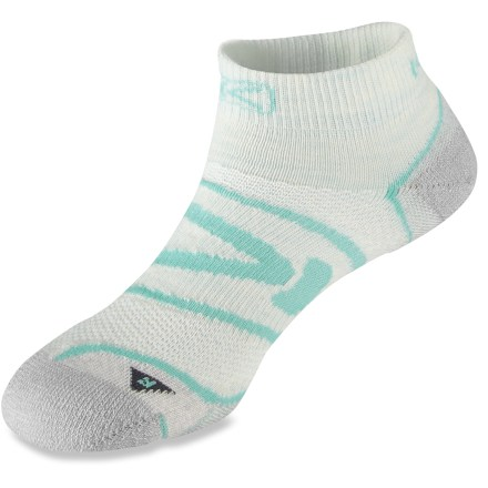 Fitness The Keen Zip Hyperlight Low-Cut women's socks offer support for any endeavor. Anatomically designed, these socks have a definitive left and right, providing a precise fit and reducing fabric waste. Nylon and merino wool blend wicks away moisture and breathes to regulate temperature for outstanding comfort in a variety of conditions. Seamless toes offer durability and a low profile in the flex zone to preclude bunching. Impact cushioning in key areas provides all-day comfort and impact reduction. Breathable air-mesh uppers. - $10.93