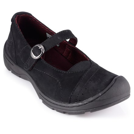 The low-profile Keen Sterling City MJ shoes offer classic Mary Jane style in a versatile platform for your daily, silver-lined adventures. Full-grain leather uppers supply flexible comfort and long-lasting looks; instep strap adjusts with a buckle for a personalized fit. Subtle toe guards help protect feet and uppers. Breathable polyester mesh linings wick moisture away from feet for enhanced comfort. Removable KEEN.CUSH(TM) polyurethane and memory foam footbeds work in tandem with polyurethane midsoles to provide ample cushioning and support underfoot. Nonmarking rubber outsoles on the Keen Sterling City MJ shoes supply sure footing for everyday, casual wear. Fit tip: runs about a 1/2 size small. - $44.83