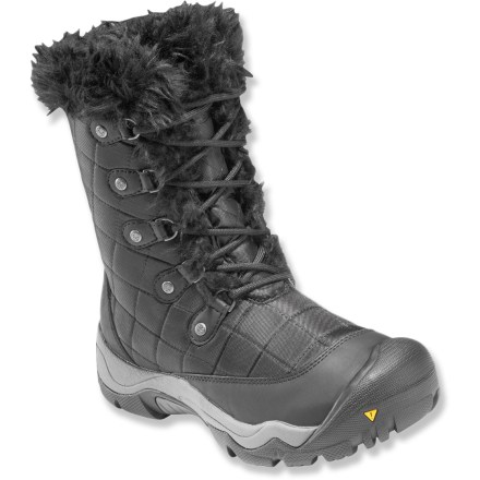Camp and Hike Ideal for winter tromps or on snowshoes, the Keen Sunriver High winter boots go to show that winter shoes can sizzle. Nylon uppers not only look great but withstand harsh conditions; lacing system supplies a snug, secure fit without much fuss. KEEN.DRY(TM) waterproof, breathable membranes keep feet dry while dissipating moisture inside the boots. 200g KEEN.WARM(TM) insulation uses a mix of charcoal bamboo and polyester fibers to ensure warmth in chilly conditions. Faux fur linings wick moisture and boost warmth; linings are rolled over at top for a touch of style. Compression-molded EVA midsoles offer shock absorption and padding for all-day comfort. Toe caps help protect Keen Sunriver High winter boots from bumps. Dual-climate rubber outsoles harden in the cold to bite into packed snow and ice. Fit tip: runs true to size. - $64.83