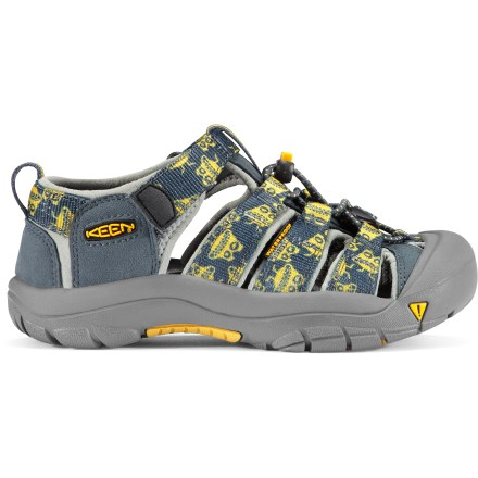 Entertainment The Keen Newport H2 sandals provide protection, function and freedom that kids can depend on for all, no matter the adventure. Polyester webbing uppers are lined with hydrophobic styrene butadiene rubber for fast-drying comfort and fit. Uppers are laced with elastic cord and secure with locking toggles; 3M reflective pull loops allow easy on/off. Patented toe guards protect little toes while hiking, walking, running and even biking. EVA midsoles provide cushioning while antimicrobial footbeds help keep foot odor under control. Nonmarking carbon rubber outsoles offer durability; knife-cut siping delivers reliable traction on wet surfaces. Closeout. - $24.83