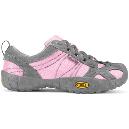 The Keen Ambler girls' shoes supply a versatile, lightweight design for ambling about. Suede leather and nylon mesh uppers are durable, flexible and breathable for comfort on the go. Laces supply a personalized fit; heel loops aid entry and exit. Nylon mesh linings wick sweat away from feet to keep them comfortable. Lightweight EVA midsoles offer shock absorption and cushioning for all-day comfort. Nonmarking rubber outsoles on the girls' Keen Ambler shoes deliver good traction on a variety of surfaces. Closeout. - $21.83