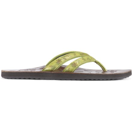 Entertainment Keen Florence II flip-flops feature cushy construction for your wearing pleasure. Supple leather uppers wrap feet for a secure, comfortable fit and feature subtle floral details for added style. Polyester mesh linings help wick moisture away from increased next-to-skin comfort. AEGIS Microbe Shield(R) antimicrobial treatment deters odor development. Leather-topped footbeds pamper feet while EVA misoles provide ample cushioning underfoot. Nonmarking rubber outsoles on the Keen Florence II flip-flops deliver durability and traction. Closeout. - $15.73
