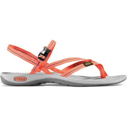 Entertainment Find inner peace on a beach or elsewhere in the Keen La Paz Thong sandals. Thin polyester webbing uppers are water friendly and quick to dry; adjustable instep strap secures with a side-release buckle, and heel strap adjusts with rip-and-stick tab. EVA footbeds are shaped to provide ample cushioning and arch support. Compression-molded EVA midsoles absorb shock, cushion feet and provide all-day comfort. Keen La Paz Thong sandals have nonmarking rubber outsoles with razor siping for enhanced traction on wet surfaces. Closeout. - $21.73