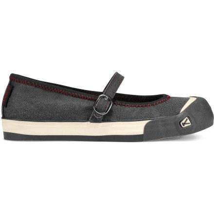 The women's Keen Coronado MJ shoes exude old school style that's sure to fit in with your new school fashion sense. Supple cotton canvas uppers make for a comfortable fit; Mary-Jane style strap secures insteps. Cotton-lined heel pockets and forefeet linings enhance comfort and moisture control. Patented rubber Toe Guards protect feet and uppers against bumps and abrasion. Polyurethane midsoles deliver cushioning and arch support. Nonmarking rubber outsoles are laid over vulcanized rubber for that old school canvas sneaker look but with a true Keen outsole. Closeout. - $41.93
