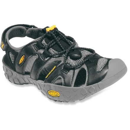 Entertainment Little feet will appreciate the comfort and fit of the Keen Kupa sandals. Polyester webbing uppers are lined with synthetic mesh for comfort and fit. Strappy uppers are laced with elastic cord and secure with Quicklocks. Rip-and-stick heel straps for easy on and off. Keen patented Toe Guards protect little toes. EVA midsoles provide cushioning. Rubber outsoles offer long-lasting wear. Closeout. - $34.93