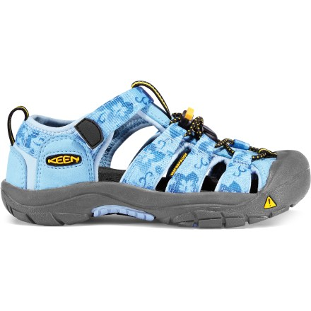 Entertainment The all-terrain Keen Newport H2 Sandals provide protection, function and freedom for young feet. Polyester webbing uppers are lined with hydrophobic styrene butadiene rubber for fast-drying comfort and fit. Uppers are laced with elastic cord and secure with locking toggles; 3M reflective pull loops allow easy on/off. Patented toe guards protect little toes while hiking, walking, running and even biking. EVA midsoles provide cushioning and antimicrobial footbeds help keep foot odor under control. Nonmarking carbon rubber outsoles offer durability; knife-cut siping delivers reliable traction on wet surfaces. Closeout. - $24.83