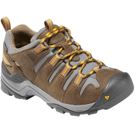 Camp and Hike Waterproof and nimble, the Keen Gypsum trail shoes offer stout protection from the elements and amazing trail performance. Waterproof nubuck leather uppers offer ample durability, flexibility and breathability for lasting comfort on and off the trail. KEEN.DRY(TM) waterproof breathable membranes keep feet dry while allowing perspiration to dissipate before it saturates the inside of the shoe. Patented rubber Toe Guards protect feet and uppers from impacts and abrasion. Removable Metatomical EVA footbeds are shaped to provide ample cushioning and arch support; can also accommodate orthotics. Dual-density EVA midsoles offer shock absorption and padding for all-day comfort. Supportive ESS plates provide torsional stability and protection from uneven and rocky terrain. Keen Gypsum hiking shoes have nonmarking rubber outsoles with aggressive 4mm multidirectional lugs to deliver durability and traction. Closeout. - $89.93