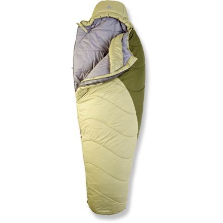 Camp and Hike The Kelty Forecast 20degF long sleeping bag beckons to be outdoors. The 3-season synthetic bag weathers all conditions from car camping to backpacking. Climashield Green(TM), continuous filament insulation made from reclaimed materials, keeps you warm and comfortable; keeps insulating even if damp. 2-layer, offset quilt construction and differential cut eliminate cold spots; ground-level side seams prevent heat from escaping. Warmth is optimized through differential cut of shell and lining fabrics, allowing the insulation adequate room to expand to its full loft. Hip-length, 2-way locking zipper is backed by a draft tube to keep warmth in. Internal loops allow attachment of a fleece liner (not included) to increase warmth. Pad loops provide attachment points to keep your sleeping bag and pad together so you don't roll off onto the cold ground (straps sold separately). Zippered foot vent allows airflow on warm nights. Ultralight compression stuff sack and cotton storage bag included. Hang loops allow easy drying and storage. Closeout. - $88.93