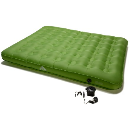 Camp and Hike Inflate the Kelty Dream Eazy queen-size air mattress with the included rechargeable pump and enjoy a comfortable night of blissful slumber. PVC-free, 70-denier nylon is laminated to thermoplastic polyurethane (TPU); puncture-resistant construction stands up well to the rigors of travel and camping. Material is stretch resistant to provide constant air pressure and comfort. Rechargeable 6V pump rapidly inflates air bed; plug pump into car lighter or charge at home for cordless operation at camp. Kelty Dream Eazy queen-size air mattress rolls up and stores compactly in the included Kelty Binto storage bag. Fits standard queen-size sheets. - $69.93