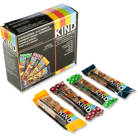 Camp and Hike The KIND Plus Mini Bars variety pack contains 4 great-tasting flavors of snack bars that you can enjoy anytime, anywhere. - $11.93
