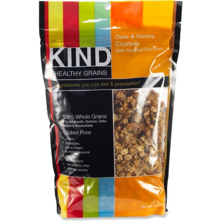 Camp and Hike Satisfy your hunger with a handful of the tasty KIND Healthy Grains Cluster mix. - $6.50