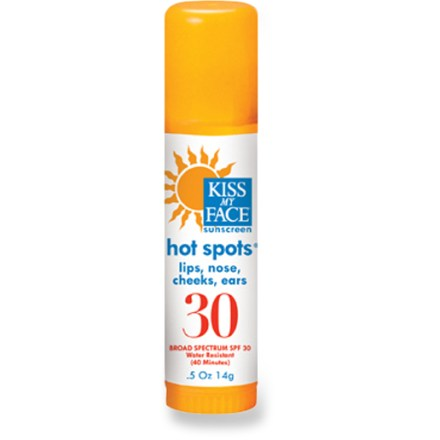 Camp and Hike Kiss My Face Hot Spots SPF 30 sunscreen is perfect for delicate areas, such as your ears, lips, nose, cheeks and brow. - $8.95