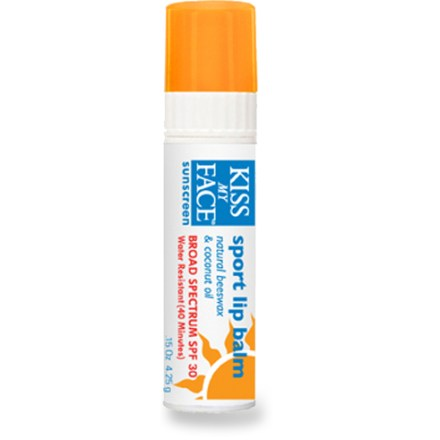 Camp and Hike Kiss My Face Sport SPF 30 lip balm is designed for active adults and children. This long-lasting lip balm will soothe your chapped lips with natural and organic ingredients. - $3.50