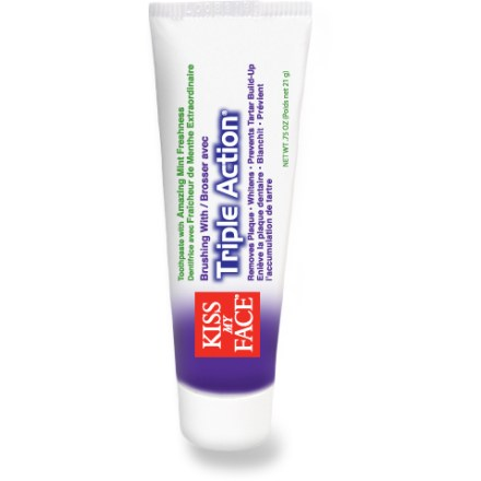 Camp and Hike Keep your teeth sparkling clean with Kiss My Face Triple Action(R) toothpaste. Triple Action toothpaste removes plaque, whitens teeth and prevents tartar buildup. 0.75 oz. tube is a convenient size for traveling and backpacking. - $1.50