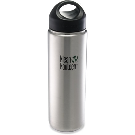 Camp and Hike The slim and sightly 27 fl. oz. Klean Kanteen Wide-Mouth water bottle with loop-top cap carries enough liquid to keep you content throughout your busy afternoon. - $20.95