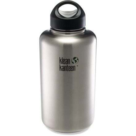 Camp and Hike This large-volume Klean Kanteen Stainless-Steel Wide-Mouth water bottle with loop-top cap lets you tote around 64 fl. oz. of your favorite beverage. - $34.95