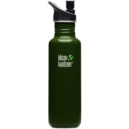 Camp and Hike The rugged Klean Kanteen 27 fl. oz. stainless-steel water bottle with sport cap is a great companion on bike rides, workout sessions and mountain adventures! Bottle is made of tough 18/8 food-grade stainless steel that is BPA free and dishwasher safe. Choose a bright color to match your style. Polypropylene sport cap makes it easy to stay hydrated; cap features a quiet valve that allows a high flow of water. Bottle mouth is wide enough to accept ice cubes. Clip a carabiner (sold separately) to the loop on the sport cap and attach the bottle to a backpack or belt loop. Slim design fits neatly in standard sport bottle carriers and most bicycle bottle cages. Sport cap is not 100% leakproof, so keep bottle upright when possible. Please note: Klean Kanteens are single walled and are not intended for use with hot liquids. - $13.93