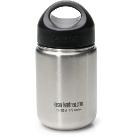 Camp and Hike The compact 12 fl. oz. Klean Kanteen Stainless-Steel Wide-Mouth water bottle with loop-top cap fits easily in your daypack or school bag so you can stay hydrated on your everyday adventures. 2.13 in. wide-mouth opening allows for easy filling and pouring; bottle is compatible with many backcountry water filters. Tough 18/8 food-grade stainless steel is BPA free and dishwasher safe. Slim design fits in most vehicle cup holders. Loop-top screw cap uses BPA-free polypropylene on the outside and food-grade stainless steel on the inside so your water does not come into contact with plastic. Loop top lets you attach the bottle to a backpack or belt loop using a small, lightweight utility 'biner (sold separately). Cap is easy to grip and seals tight to prevent leaks. Please note: Klean Kanteens are single walled and are not intended for use with hot liquids. - $16.95