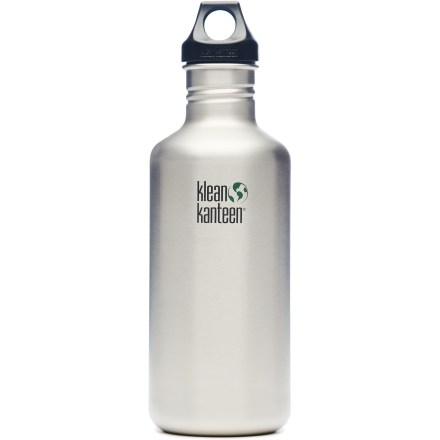 Camp and Hike Durable, lightweight and without the nasty aftertaste of many bottles, the Klean Kanteen water bottle with loop cap is a great companion on any adventure! Made of tough stainless steel that is BPA free and dishwasher safe. Bottle mouth is easy to drink from directly and is sized to accept ice cubes; polypropylene screw cap is easy to grip and seals tight to prevent leaks. Loop top lets you attach the bottle to a backpack or belt loop using a small, lightweight utility 'biner (sold separately). Large 40 fl. oz. capacity is perfect for extended trips or just simply when you need more clean-tasting water. Please note: Klean Kanteens are single walled and are not intended for use with hot liquids. - $27.95