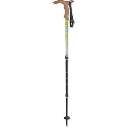 Camp and Hike The Kompdell Walker Antishock Light walking staff is perfect for all your travels. Strong 3-section 7075 aluminum alloy straight shaft is heat-treated for outstanding tensile strength. Collapses from 39 to 21.6 inches for easy packing. Multimedical cork grip lets you use the Walker cane style or staff style. Dome basket can be added for trail use, preventing the pole from sinking into soft earth or rocky terrain. Closeout. - $35.83