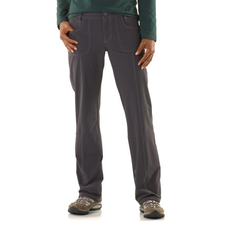 Camp and Hike The stretchy, sun-protective Kuhl Vala pants are tough enough to withstand a day hike and casual enough for running errands around town. Tufflex(TM) is a soft, durable stretch weave with a brushed back; this versatile fabric is lightweight, quick drying, wrinkle resistant and ideal for an active lifestyle. Fabric provides UPF 50+ sun protection, shielding skin from harmful ultraviolet rays. Kuhl Vala pants have hand pockets and 1 back pocket with zippered closure. - $54.93