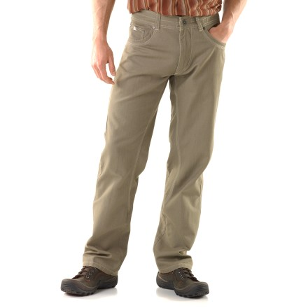 Climbing The Kuhl Outkast pants have a clean look that fits in at the workplace or the climbing gym. Combed cotton canvas has a soft hand for excellent comfort. Articulated design does without added seams and darts for a clean look. Standard 5-pocket design with a contoured cell phone pocket on the side provides ample space for essentials. Kuhl Outkast pants have a gusseted crotch to facilitate freedom of movement for increased comfort. - $75.00