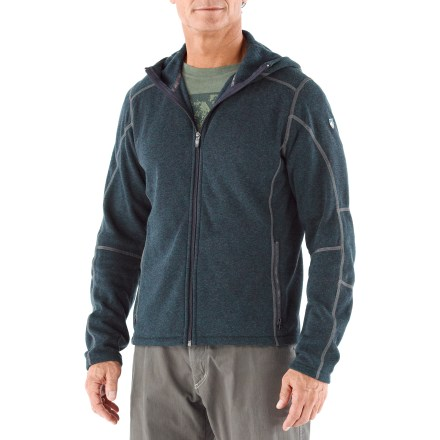 Hit the trail or head into town on a cold day with the soft and warm Kuhl Revel Hoodie fleece top. Acrylic/polyester/rayon blend delivers lightweight comfort and a soft hand that you'll enjoy on cool-weather outings. Hood and zippered handwarmer pockets ensure you stay comfortable on cool days. Collar on the Kuhl Revel Quarter-Zip fleece top is lined with soft microfleece for comfort next to skin. - $68.93