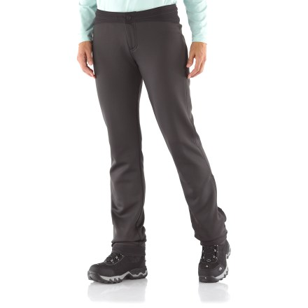 Camp and Hike The Kuhl Helena pants are great for traveling around town, around a snowy trail, or around the world! Contoured leg construction provides stylish lines and a slimming fit. Soft fleece interior, with a silky smooth exterior; fabric is warm and breathable, and the stretch is just right to support and flatter. Contoured soft-shell waistband with internal drawcord provides a personalized fit and features a zip fly with snap closure. Waistband hugs higher in the back and dips slightly in the front; low-profile gusseted crotch. Reinforced cuffs with lower leg zippers and snaps for easy on and off. Kuhl Helena pants have a back zip pocket to secure essentials. - $49.93
