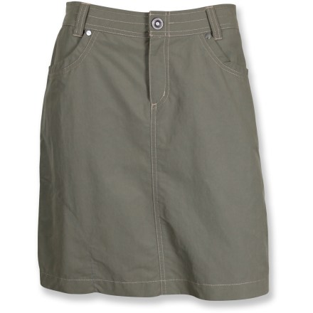 The Kuhl Bandita skirt is built for mountain life but also happily exists in urban settings. Nylon/cotton blend fabric wicks moisture and dries quickly. Fabric provides UPF 40 sun protection, shielding skin from harmful ultraviolet rays. Stitched back pockets. Zippered fly with button closure for easy on. Closeout. - $38.93
