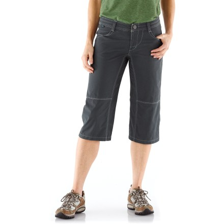 Camp and Hike The wrinkle-resistant Kuhl Viola capris look just as cute on the trail as they do in the city. Kuhldry(TM) stretch fabric features a soft, quick-drying outer layer and a smooth, breathable nylon inner layer to keep you cool and comfortable. Spandex adds stretch, shape retention and wrinkle resistance, yet doesn't take away from the natural softness and breathability of the cotton. Pretty plaid flower print adorns rear yoke; seamless side design lends a flattering fit. Kuhl Viola capris feature hand pockets and 2 rear pockets. Closeout. - $24.73