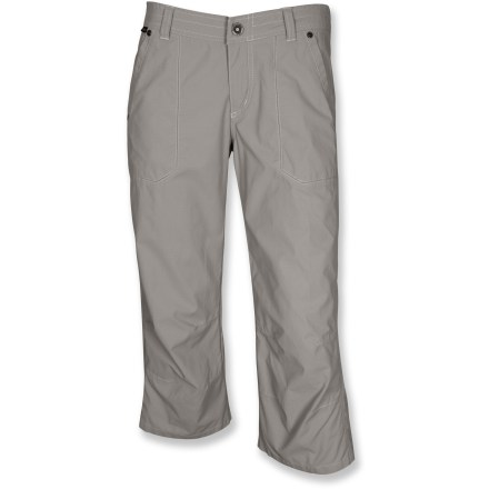 Camp and Hike The Kuhl Venetia capris outfit you for warm-weather adventures. Soft, stretchy cotton/nylon/spandex blend fabric wicks moisture and dries quickly. Flower embroidery on back yoke for style. Venetia capri pants feature front hand pockets, back pockets, a zippered fly and button closure. Closeout. - $29.83