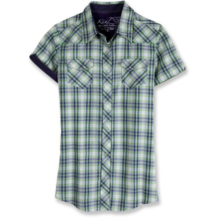 The Kuhl Rumblr Plaid shirt fights moisture, breathes easily and dries quickly. Polyester fabric features silver ions woven into the fibers to help prevent unpleasant odors. Fabric provides UPF 30 protection from harmful solar rays. 2 snap-close pockets. Closeout. - $28.83