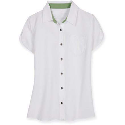 The quick-drying, moisture-managing Kuhl Tulip shirt is built for warm-weather hikes. Smooth polyester fabric is breathable and quick-drying; plus, it wicks moisture away from your skin. Fabric provides UPF 40 protection from harmful solar rays. Kuhl Tulip shirt features a full-length, metal-button placket and 1 chest pocket. Closeout. - $34.73