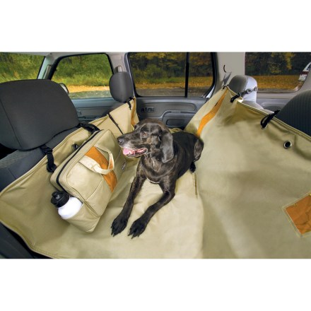 Camp and Hike Protect the front and back of your car seats with the waterproof Kurgo Wander Hammock. It acts as a barrier to Fido's slobber, footprints and hair, plus gives him a comfy place to rest during a ride. 6 bungee cord attachment points keep Wander Hammock in place. 600-denier polyester with PVC backing is waterproof, washable and stain resistant; easy to install and remove. Hammock folds up compactly into a neat carrying case for easy transport; case features a handy water bottle holder. Rip-and-stick openings allow you to incorporate seatbelt and child seat. Can be zipped in half to allow pets on 1 side and passengers on the other. Piped edges keep dirt and water from spreading. - $60.00