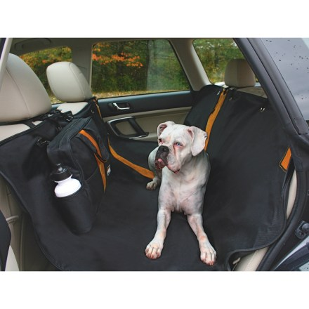 Camp and Hike Protect the front and back of your car seats with the black Kurgo Wander Hammock seat protector to block slobber, footprints and hair while giving Fido a comfy place to rest during a ride. 6 bungee cord attachment points keep the seat protector in place. 600-denier polyester with PVC backing is waterproof, washable and stain resistant; easy to install and remove. Hammock folds up compactly into a neat carrying case for easy transport; case features a handy water bottle holder. The Kurgo Wander Hammock seat protector features rip-and-stick openings that allow you to incorporate seat belt and child seat. - $44.93