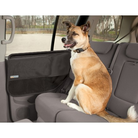 Climbing The Kurgo Pet door guards help keep dirty, furry paws from damaging your car door's interior surface when your slobbery, window-climbing friend rides along. This waterproof pair of guards is easy to install; they provide universal coverage, adjusting to fit large or small vehicles. Attach by simply sliding tabs between the window and door panel. Storage pockets hold all kinds of essentials for road-tripping canines. The Kurgo Pet door guards are machine washable, and sold as a pair. - $17.93