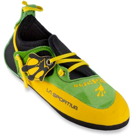Climbing The La Sportiva Stickit rock climbing shoes will help get your kids outdoors and excited about climbing. - $48.00