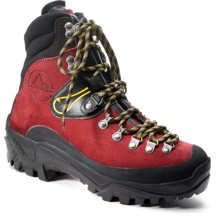 Climbing These tough Karakorum mountaineering boots from La Sportiva supply plenty of heavy-duty support for extended hauls and have the added bonus of crampon compatibility. Uppers feature 2.8mm Idro-Perwanger silicone-impregnated roughout leather, which is highly water-resistant, breathable and extremely abrasion resistant. Vibram(R) rubber toe rands protect feet and uppers from bumps and abrasion; cuffs are reinforced with Cordura(R) nylon for increased longevity. Dry-Best(R) linings optimize moisture transfer away from feet with a system that includes Hydrofil(R) wicking nylon, keeping feet dry, cool and comfortable. 3D Flex(TM) ankle hinge system articulates for side-to-side flexibility and improved agility on uneven terrain; system also helps shorten break-in time. Polyurethane SBR Aircushion midsoles absorb shock and provide ample cushioning for long approaches. 8mm high-density nylon insoles with anti-torsion plates provide support underfoot for handling uneven terrain and heavy loads. Vibram Couloir rubber outsoles supply superb traction on rough terrain; compatible with hybrid crampons. - $212.93