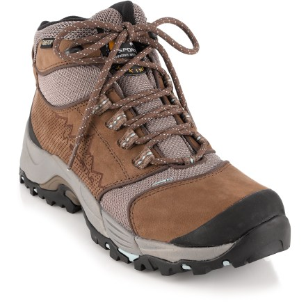 Camp and Hike La Sportiva FC ECO 3.2 GTX women's hiking boots feature a mix of recycled materials and a versatile, waterproof design that deftly handles day hikes and lightweight backpacking. - $86.83